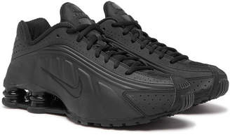 Nike Shox R4 Mesh-trimmed Faux Leather Sneakers - Black