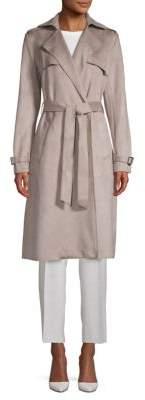 T Tahari Mel Faux Suede Trench Coat