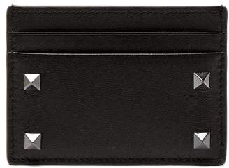 Valentino Rockstud Leather Cardholder - Mens - Black