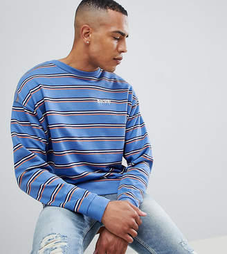 5f2770ae706 at ASOS · Asos Design DESIGN tall oversized retro striped sweatshirt with  embroidery