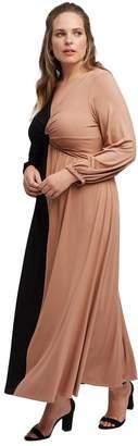 White Label Two-Tone Twist Dress - Black Dulce Colorblock, Plus Size