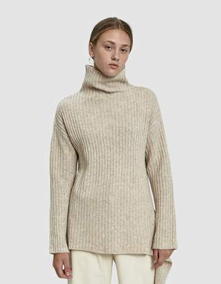 Mijeong Park Ribbed Side Tie Pullover in Oatmeal