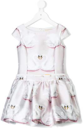 MonnaLisa Chic swan print dress