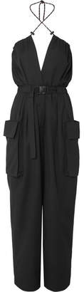 Dries Van Noten Belted Cotton And Wool-blend Twill Jumpsuit - Black