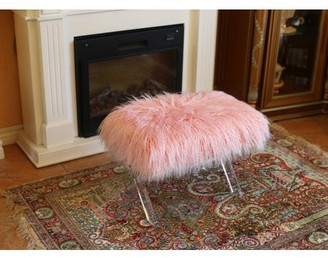 Best Quality Furniture Fur Bench/Ottoman With Acryllic Legs White or Pink