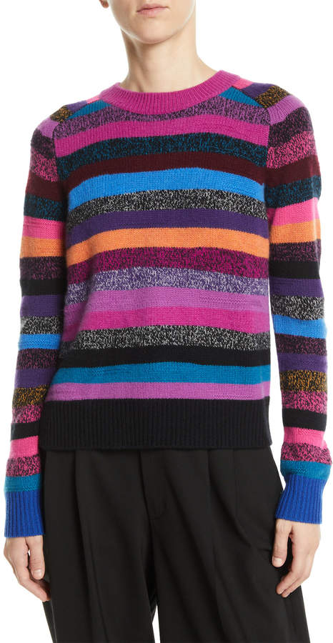 Marc Jacobs Crewneck Long-Sleeve Multicolor Striped Cashmere Sweater