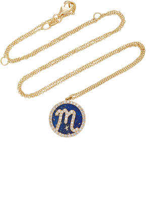 Lapis Names by Noush M'O Exclusive: Treasure Disk Roman Initial Necklace With Lazuli Gemstone