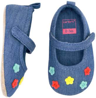 Carter's Baby Girl Flower Chambray Mary Jane Crib Shoes