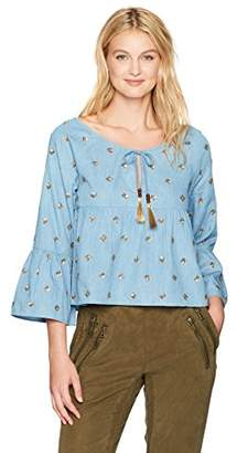 Nicole Miller Women's Embellished Soft Chambray Top