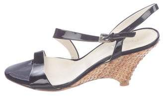 Prada Patent Leather Slingback Wedge Sandals