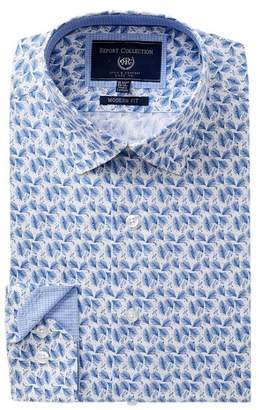 Report Collection Leaf Trim Fit Dress Shirt