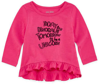 Okie Dokie Long Sleeve Ruffle Graphic Tee - Baby Girl NB-24M