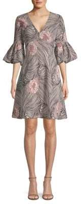Aidan Mattox Printed Three-Quarter Sleeve Dress
