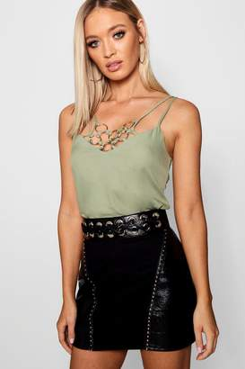boohoo Charlotte Woven Metal Ring Detail Cami