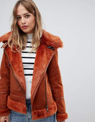 Urban Code Urbancode aviator coat with faux fur trim