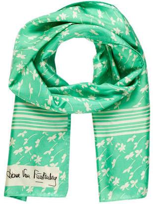 Diane von Furstenberg Floral Logo Scarf $65 thestylecure.com