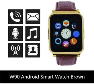 AARON W90 Fashion Waterproof Blueto oth Smart Phone Watch Mate For Android Support Video And Sound Recording 2 Colors, Brown
