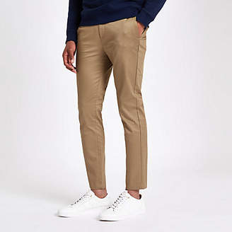 River Island Mens Light Brown skinny cropped trousers