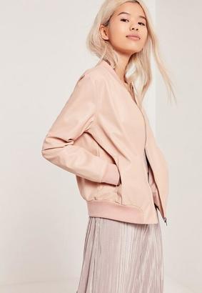 Faux Leather Bomber Jacket Nude $80 thestylecure.com