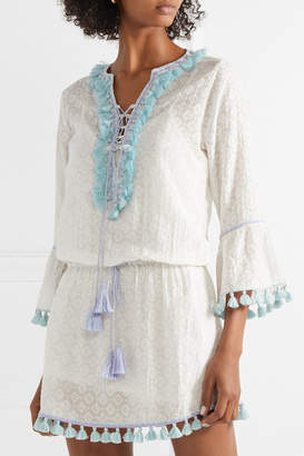 Talitha - Ria Tasseled Embroidered Cotton And Silk-blend Mini Dress - White