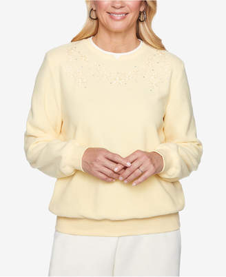 Alfred Dunner Petite Classics Embroidered Anti-Pill Knit Top