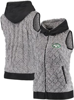 Antigua Women's Heathered Gray New York Jets Fame Hooded Full-Zip Vest