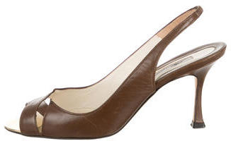 Brian Atwood Leather Peep-Toe Pumps $85 thestylecure.com