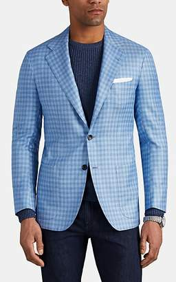 Kiton Men's KB Checked Cashmere-Blend Two-Button Sportcoat - Light, Pastel blue