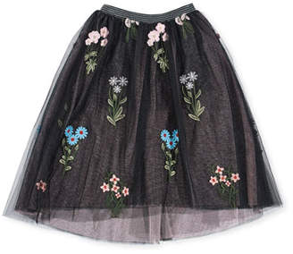 Hannah Banana Midi High-Low Floral Embroidery Tulle Skirt, Size 4-6X