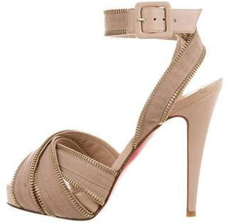 Christian Louboutin Zip-Accented Ankle Strap Sandals
