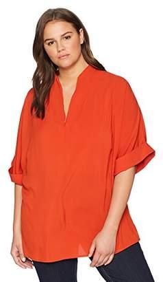 Calvin Klein Women's Plus Size V-Neck Short Sleeve Top