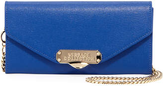 Versace Small Saffiano Leather Crossbody Bag, Blue