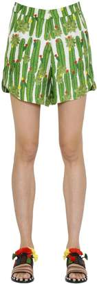 Sanchita Cactus Printed Silk Twill Shorts