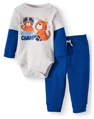 Garanimals Baby Boys' Long Sleeve Layered Bodysuit and French Terry Jogger Pants, 2-Piece Outfit Set