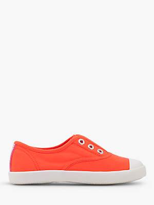 Boden Mini Children's Laceless Canvas Shoes, Fluoro Coral