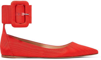 ATTICO Julia Moire Point-toe Flats - Red