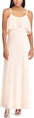 Chaps Women's Ruffle Overlay Strappy Evening Dress