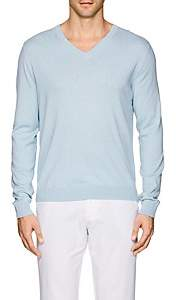 Piattelli MEN'S COTTON-BLEND V-NECK SWEATER-LT. BLUE SIZE S
