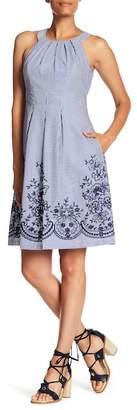 Nine West Sleeveless Pleated Neck Dress