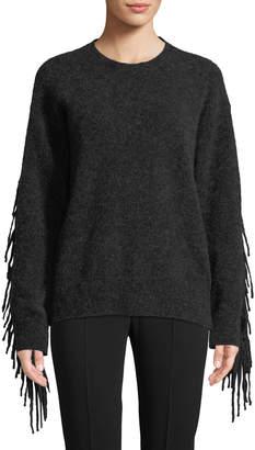 Max Mara Crewneck Mohair-Wool Pullover Sweater w/ Fringe Trim
