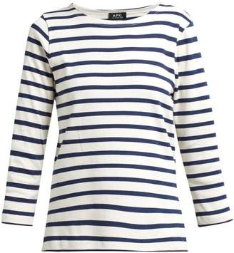 A.P.C. Breton Stripe Long Sleeved T Shirt - Womens - Navy White