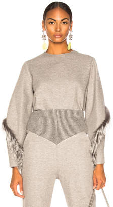 Sally Lapointe Cocoon Top With Fox Fur in Heather Grey | FWRD