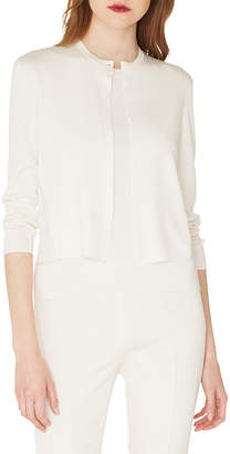Akris Lace-Back Silk Cardigan