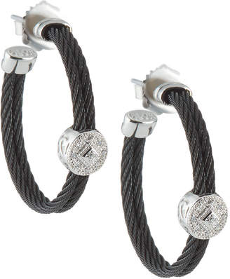 Alor Cable Hoop Earrings w/ Diamonds
