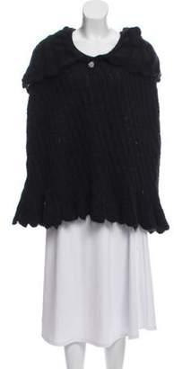 Nina Ricci Hooded Rib Knit Poncho w/ Tags Black Hooded Rib Knit Poncho w/ Tags