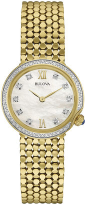 Bulova Diamonds Womens Diamond-Accent Gold-Tone Stainless Steel Mesh Watch 98R218 $575 thestylecure.com