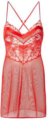 Wisteria Red Leavers Lace And Silk Georgette Slip