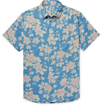 Faherty Slim-Fit Floral-Print Linen-Blend Shirt