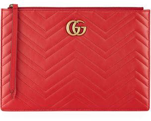 Gucci Small Zip-Top Flat Pouch Wristlet Bag