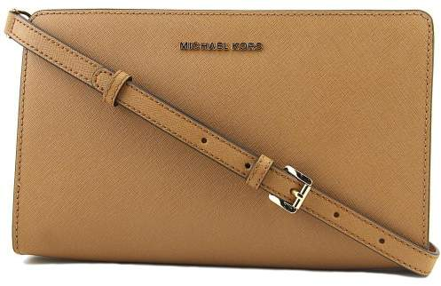 Michael Kors Large Jet Set Crossbody Clutch- Acorn - BROWN - STYLE